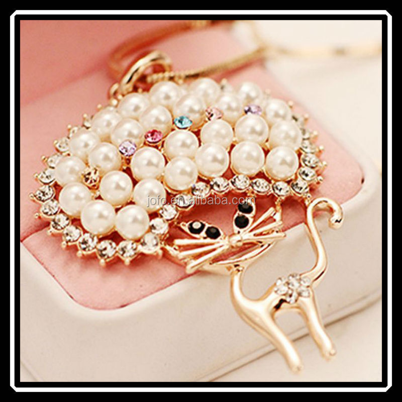 2015 Korean Fashion Snake Chain Gold Plated Sweet Big Head Miss Cat Rice Pearl Long Necklace For Lady and Women