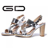 chunky high heel summer party dress sandal silver sandal with buckle