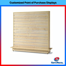 Wholesale wooden 2 sided slatwall unit display for hanging shoes