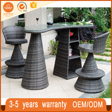 Top Garden Party 3PC Unique Bar High Table And Chair Patio Rattan Wicker Outdoor Furniture Beauty Furniture