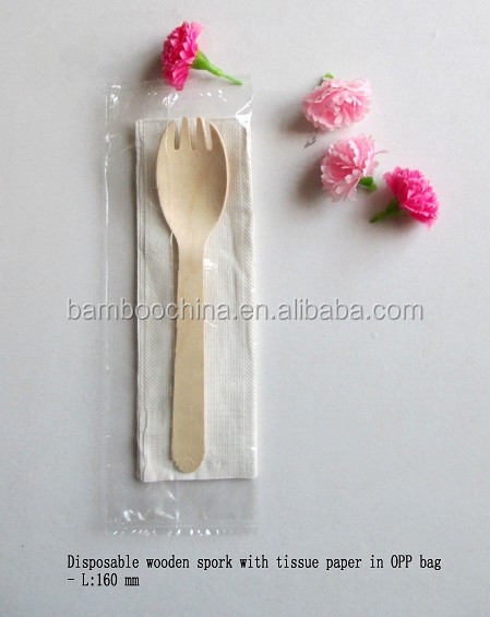 Disposable wooden knife fork spoon set
