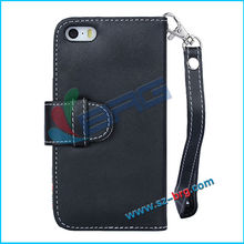 BRG- High quality Black PU leather belt clip flip case for iphone 5