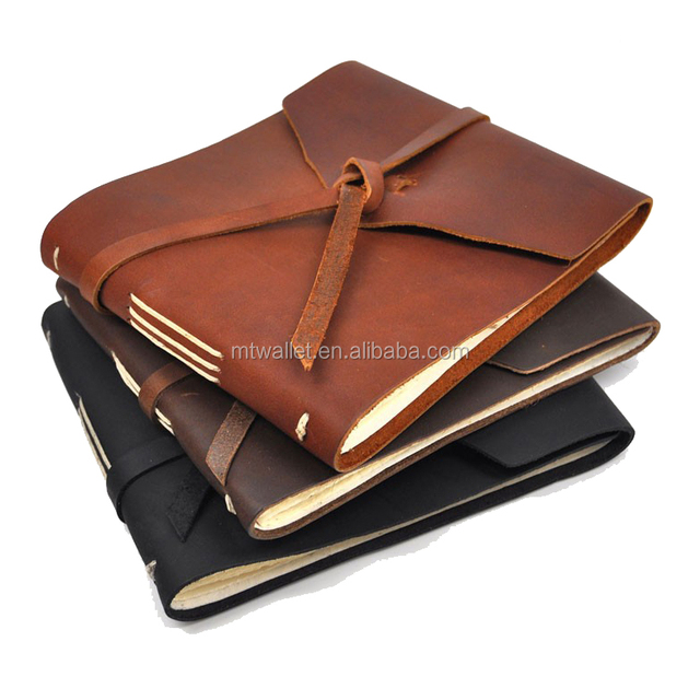 2016 new arrival soft bound hand crafted rustic leather note book guest book custom journals, hand sewn bound and not expandable