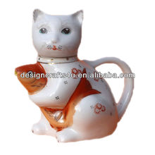 poplar vintage white cat with fish porcelain figurines