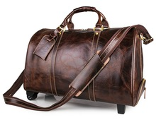 7077LQ Brown Cow Leather Travel Tote Trendy Trolley Dispatch Travel Bag for Men