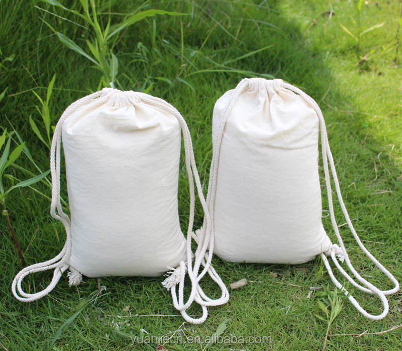 Yuanjie customized Muslin Drawstring Cotton Bag Enlarge Backpack Sack Made of Cotton in Natural White