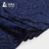 Popular pattern blue velvet fabric characteristics for theater curtain