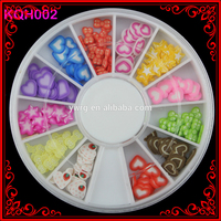 KQH002 Hot Sale 120 pcs Fimo Slices Wheel Tips Decoration Polymer Clay Heart Decoration Tips art Nail Wheels Supplies