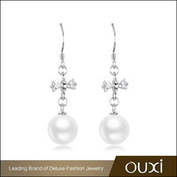 OUXI Fashion Female Jewelry New Model Pearl Hanging Silver Earrings
