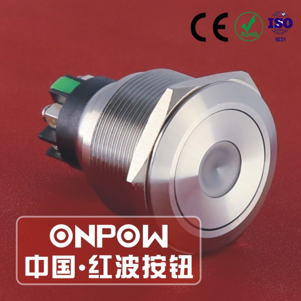 30 Years Industry Leader ONPOW Metal Push Button Switch GQ25-L-11D/S Dia. 25mm stainless steel dot illuminated IP65 CE ROHS