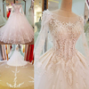 LS63375 V-back vintage wedding dress 2017 1 piece detachable lace top luxury beaded long train lace tail wedding dress