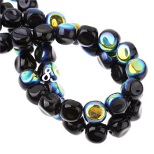 Black AB Color Tortuose Triangular Prism Glass Loose Beads 10x9mm