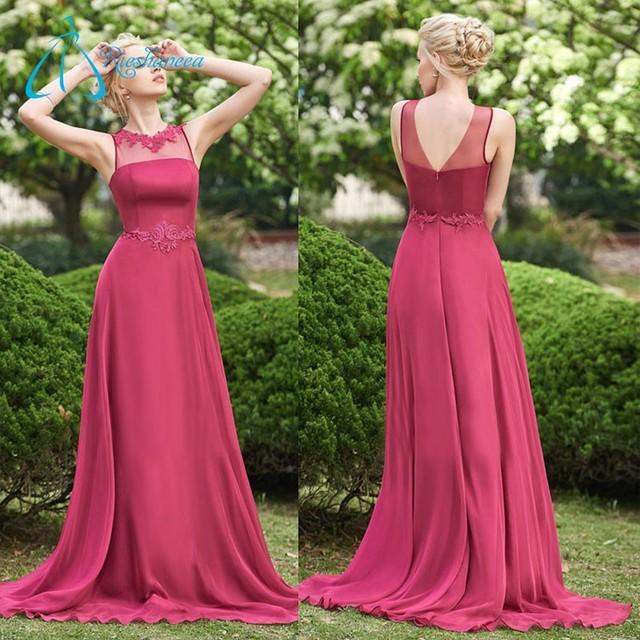 Custom Made Lace Appliques Chiffon A Line Long Bridesmaid Dress