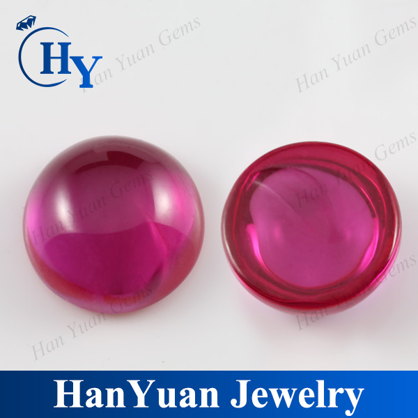 china cabochon cut blood red halfmoon synthetic ruby