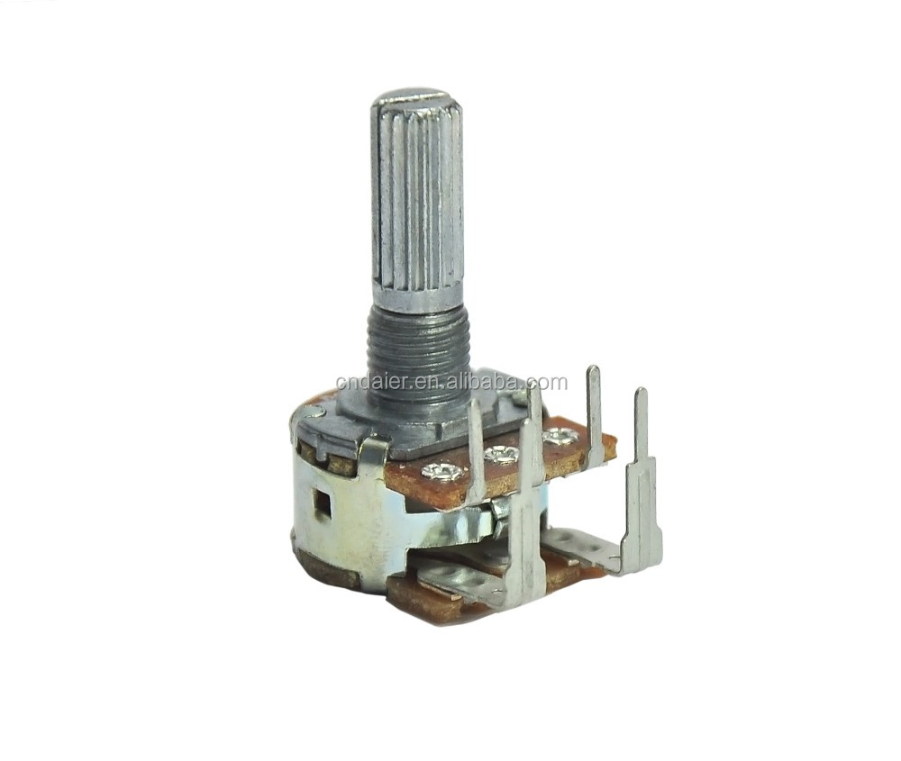 WH148-1AK-5 Reverse type high power b500k rotary dual gang potentiometer