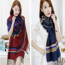 Korean fashion men and women winter warm small striped wool knitted scarf