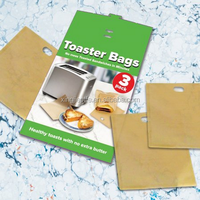 Toaster Bags Gluten Free Toasts Reusable Non-Stick Fits Any Size Bread FDA Approved 3 Pack