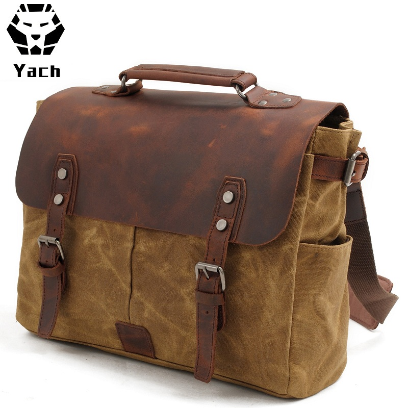 2018 Brand vintage waterproof waxed canvas business leather laptop briefcase satchel shoulder messenger bag
