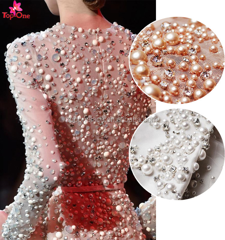 Haute Couture fabric Bridal Heavy Beaded Lace Fabric with embroidery on mesh lace Hand Beaded French Tulle Lace for party dress