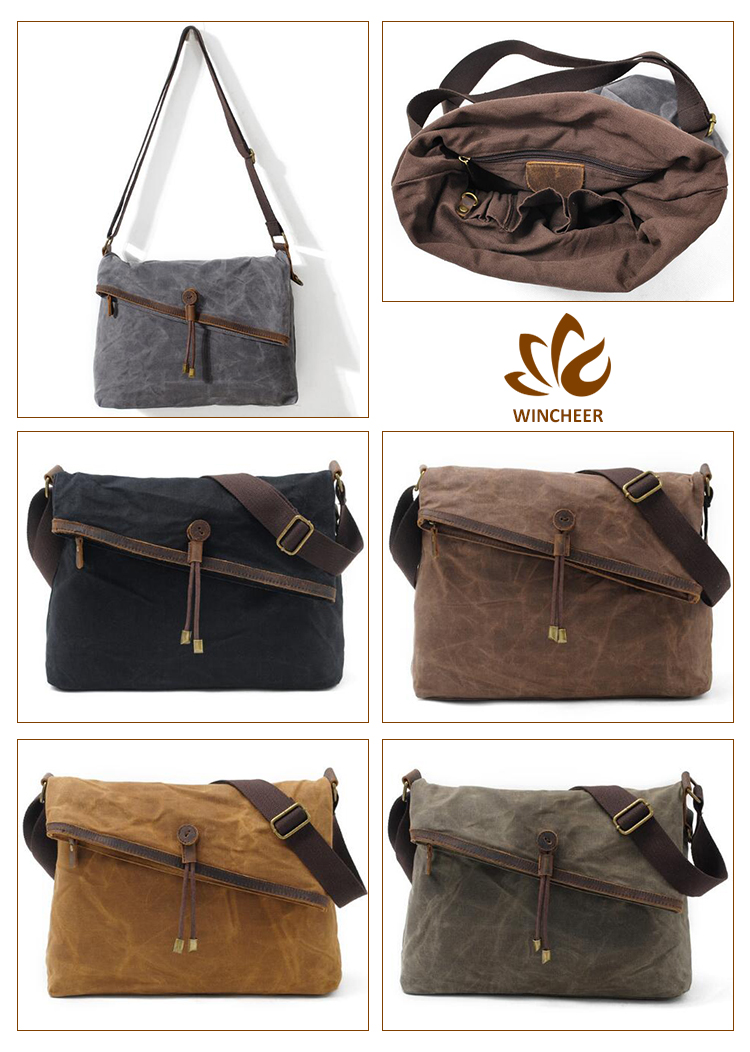 Top quality shoulder bag, waxed canvas messenger bag, canvas school bag