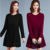 2017 spring latest design ladies long sleeve crew neck lace bottom sweater dress