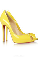 JUSITY mature sexy yellow women peep toe high heel pumps shoes high heel dress shoes for ladies