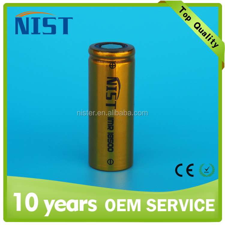 Authentic 18500 rechargeable li-ion battery 3.7v 1200mAh NIST 18500 battery