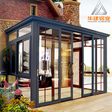 customized thermal break aluminium patio rooms , aluminum glass sunroom / sun room with sliding windows and doors