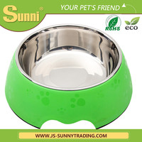 pet supplies bone shaped dog bowl rubber ring