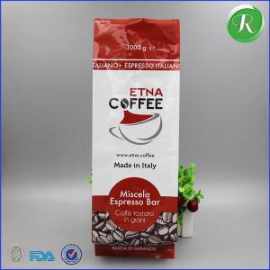 high quality custom printed aluminum foil side gusset coffe packing bags with one-way valve