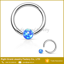 316L Surgical Steel Opal Captive Bead Nose Ring