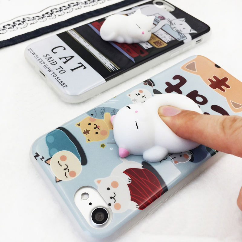 Manufacturer of Finger Pinch cell phone case Newest Cartoon 3D Cute Soft Squishy phone case