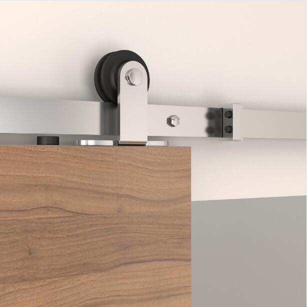 Tsq05ss top mount stainless steel barn door hardware set for Top mount barn door hardware