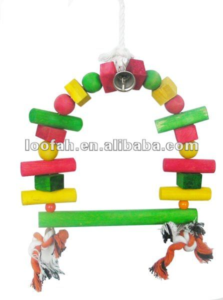 colorful wooden combo swing bird toy