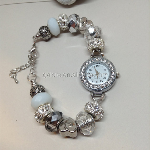 mothers day valentines day big hole beaded bracelet watch