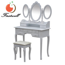 French Rococo modern Mirror Dressing Table White with Stool