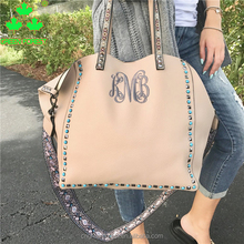 Embroidered Monogrammed Studded Guitar Strap Handbag Tote Bag