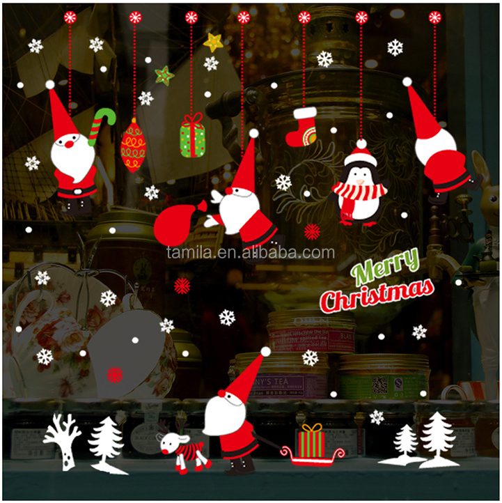 New Kids Cartoon Christmas Santa claus Gifts Shop Window Glass Background Decoration New Year PVC Wall Stickers