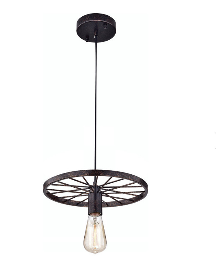 Wholesale Vintage Wrought Black/ Rusty Iron Single Hanging Wheel Pendant Lamp with E26/E27 Edison Bulb Light for Restaurant