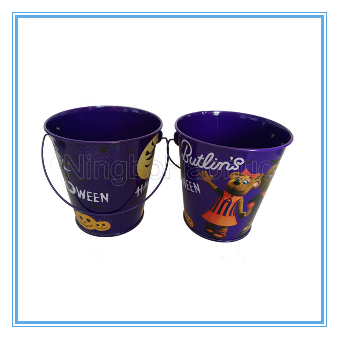 New Fashion Party Favor Printed Metal Halloween Bucket