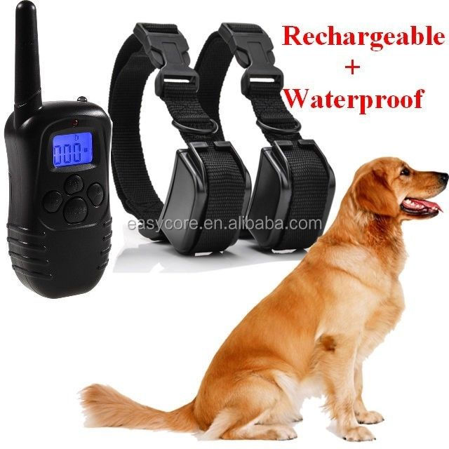 300Meters Range Rechargeable Dog Training Collar waterproof trainer with remote for two dogs