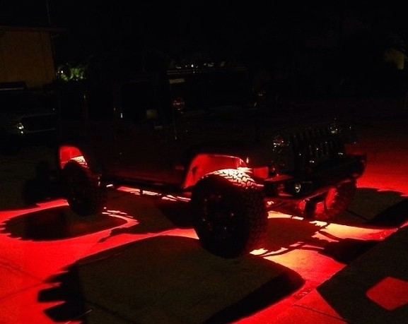 WEIKEN RED 8 Pod RGB Off Road Led Rock Lights Auto Spare Parts Car 4x4 Accessories