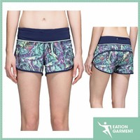 printed flat lock elastic band wholesale booty shorts plain sweat women shorts