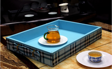 PU leather hotel tea cup tray,tea serving tray, faux leather tray for hotel