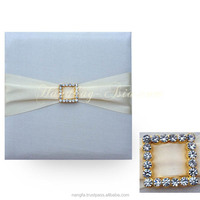 Thailand's Luxury Rhinestone Buckle Embellished Wedding Card Silk Invitation Pad