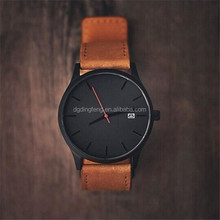 Sport Style Black Brown Geniune Leather Band Military Vintage Men's Leather Watch