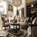 Solid Wood Black Walnut With Gold Leaf Distressed Carvings Living Room Upholstery Sofa Set