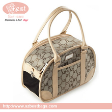 High quality PU leather canvas pet carrier