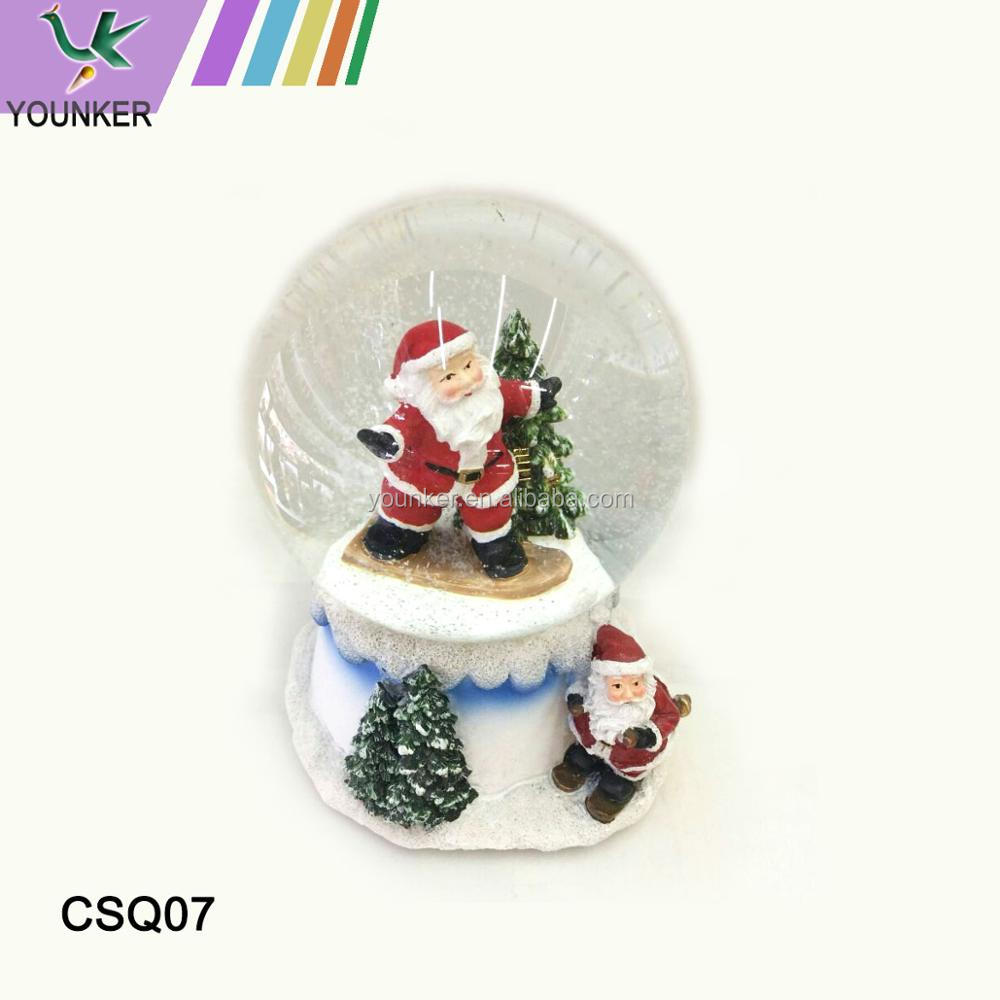 High quality Christmas gifts resin base crystal snow globe water ball