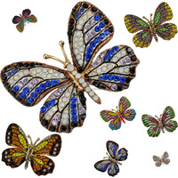 china Wholesale Brooch Top Sale Fashion Metal Yellow Gold Plated Butterfly Rhinestone Brooch